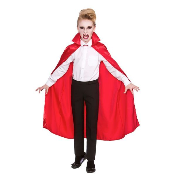 Childs Satin Cape With Collar - Red
